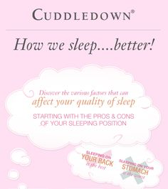 """Cuddledown: """"How We Sleep Better! Discover the various factors that can affect your quality of sleep"""" infographic"""