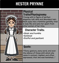 character analysis hester prynne 1 Hester prynne: sinner, victim, object, winner the scarlet  he imagined the character of hester prynne for an  of hester prynne updike says hester is.