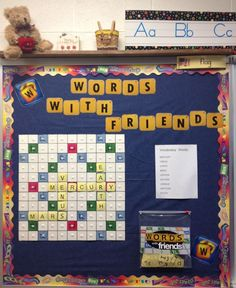Interactive vocabulary bulletin board - image only. I could totally use this, when kids turn in all their HW in a week or finish all their classwork, they would get a letter, and they can save the letters until they make a word