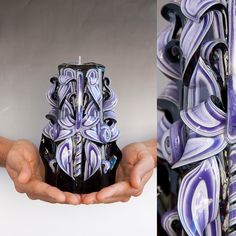 Black candle - Purple candle - Carved candle - Valentines day gift. $24.00, via Etsy.