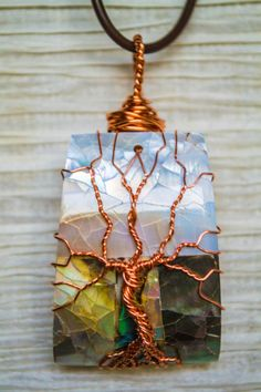 Tree of Life copper wire wrapped Abalone by RecycledBeautifully