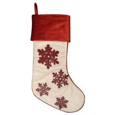 allen + roth 19-in Ivory Cotton Embroidered Christmas Stocking