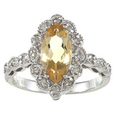 Sterling Silver Vintage Style Marquise Citrine and Diamond Ring (1/4 TDW) - Fashion Jewelry