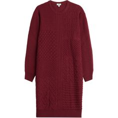 Kenzo Knitted Wool Dress (10 180 UAH) ❤ liked on Polyvore featuring dresses, red, kenzo, round neck dress, kenzo dress, red dress and wool knit dress