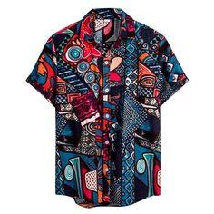 Mens Vintage Shirts, Short Sleeve Linen Shirt, African Shirts, African Clothes, Half Shirts, Indian Men Fashion, Shirt Print Design, Summer Shirts, Casual Shirts For Men