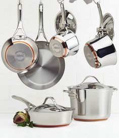 Form and function come together beautifully with this Anolon® Nouvelle Copper Stainless Steel cookware set. Each piece is crafted with copper and has a double full cap base to make cookware suitable for use on all heat sources, including induction. Induction Cookware, Kitchen Utensils, Kitchen Tools, Kitchen Products, Kitchen Sets, Kitchen Store, Cookware Set, Fun Cooking, Kitchen Essentials