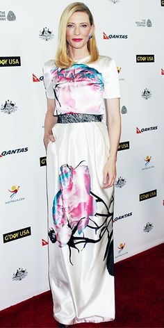 Cate Blanchett wearing a dress and crop top by Prabal Gurung, which she styled with Chopard blue-sapphire earrings.