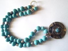 Turquoise Ethnic Necklace by AmbarKrystal on Etsy, $18.99
