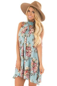ed55d94396c5d2 Lime Lush Boutique - Sky Blue Floral Print Shift Dress with Lace Neckline
