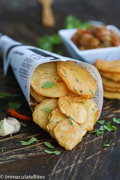 A popular potatoes fries- Enjoyed in Africa and India. Paired with Mango chutney-Completely Divine!