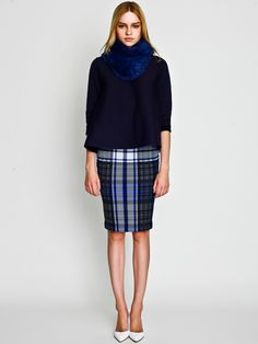 Navy - Rabbit Snood with Flar top and Check Skirt