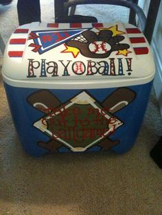 Baseball cooler but gonna have to change it to SOFTBALL! Baseball Snacks, Sports Baseball, Baseball Shirts, Baseball Stuff, Football, Softball Crafts, Softball Mom, Softball Stuff, Basketball Mom