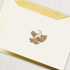 Golden Ginkgo Leaves Personalized Letterpress Stationery Mother/'s Day Gift
