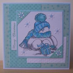 penny black stamped cards   card using one of my favourite snowman stamps from Penny Black :)