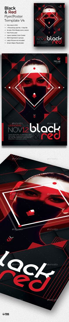 Black and Red #Flyer Template V4 - Clubs & Parties #Events Download here:  https://graphicriver.net/item/black-and-red-flyer-template-v4/20136363?ref=alena994
