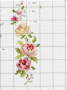 Scheme for cross stitch- rose - cross stitch pattern - embroidery- pdf - in Cross Stitch Bookmarks, Cross Stitch Love, Cross Stitch Borders, Cross Stitch Flowers, Cross Stitch Designs, Cross Stitching, Cross Stitch Embroidery, Embroidery Patterns, Cross Stitch Patterns