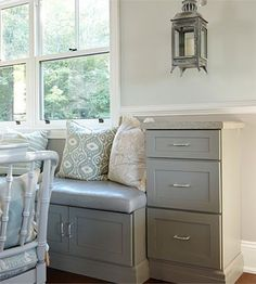Kitchen - design for lifestyle Sarah Richardson design- love the colors in this nook... and those benches!