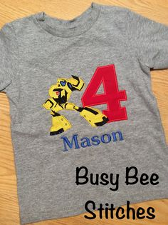 Transformers Bumblebee Birthday Shirt by BusyBeesStitches on Etsy