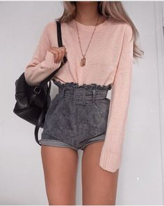 how to style grey velet shorts : pink top and black backpack - Fashion Week Girly Outfits, Mode Outfits, Short Outfits, Trendy Outfits, Summer Outfits, Pink Top Outfit, Classy Outfits, Chic Outfits, Grey Fashion