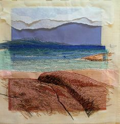 """Paper Embroidery Ideas Alison Holt, """"I am revisiting an idea of using torn and layered paper collage then adding stitching for detail and definition. Textiles Sketchbook, Art Sketchbook, Collage Landscape, Paper Embroidery, Embroidery Ideas, Beginner Embroidery, Creative Textiles, Textiles Techniques, Thread Painting"""