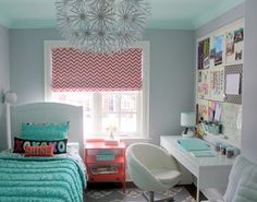 Gray bedroom with turquoise and pink accents. Great for a teen or tween.
