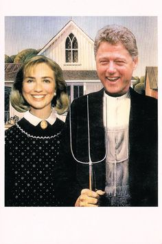 Vintage Funny President Bill Hillary Clinton American Gothic Political Postcard