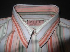 THOMAS PINK Shirt Size US 10 EUR 40 Green Orange Pink Blue Stripe Cotton Top