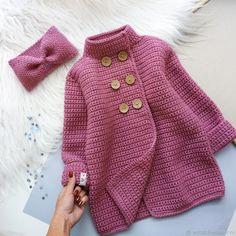 Crochet Baby Sweater Pattern, Crochet Baby Poncho, Crochet Baby Sweaters, Baby Sweater Patterns, Crochet Coat, Crochet Girls, Crochet Baby Clothes, Crochet Jacket, Kids Knitting Patterns