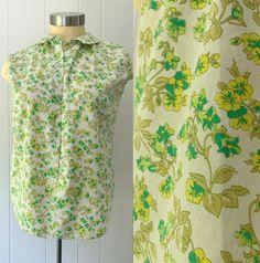 1950s Sleeveless Cotton Button Front Blouse // Mid Century Jane Fields Summer Shirt Summer Shirts, Summer Time, Fields, 1950s, Mid Century, High Neck Dress, Button, Blouse, Hot