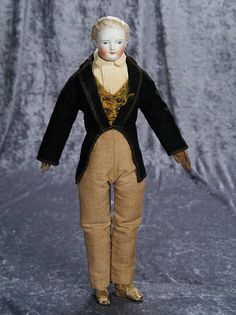 "19"" (48 cm.) German Bisque Gentleman Doll with Sculpted Brown Hair in Rare Style 500/700"