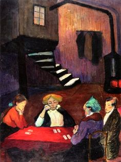Marianne von Werefkin - Card Players, 1913. Tempera on cardboard, 39 cm (15.35 in.) x 29 cm (11.42 in.). Private Collection