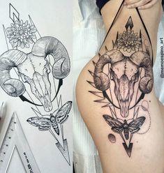 Ram skull thigh tattoo