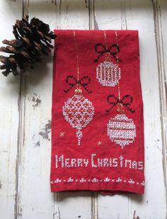 la toalla bordada lino rojo Navidad Vintage / / feliz Navidad, adorno bordado detallado / / mediados de siglo vacaciones tela