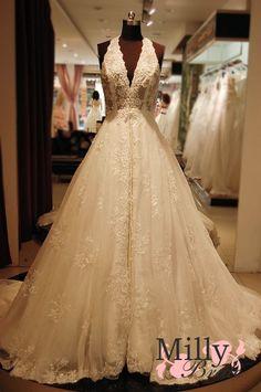 Sexy Deep V Neck lace Wedding Dress WDRL050
