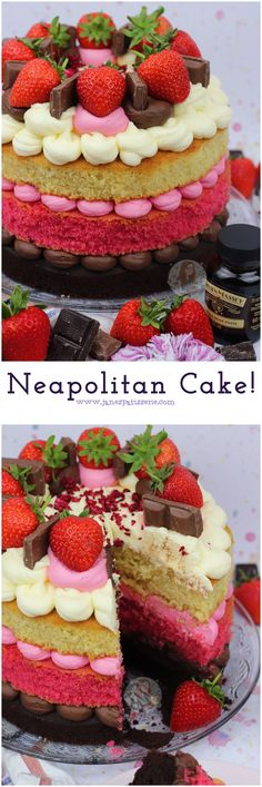 Neapolitan Cake! Chocolate Cake, Strawberry Cake, and Vanilla cake with all the trimmings… perfect Neapolitan Cake!