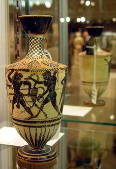 Attic Black-Figured White-Ground Lekythos, Attributed to the Marathon Painter, circa 520-510 B.C., 8 1/8 inches,