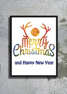 Merry Christmas Quote Watercolor Print Holiday poster Deer decor Holiday wishes Deer painting Reindeer Rudolf card Christmas gift New Year