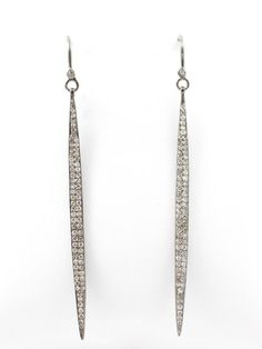 "These stunning silver and pave diamond dagger earrings by Martha Ackerman have two rows of very sparkly diamonds running through them creating  a fabulous edgy and modern style for an everyday look. Approx. 2 1/2"" long."