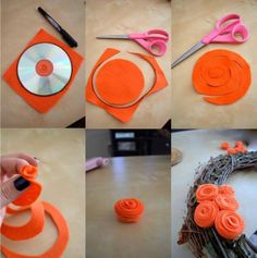 How To - Fall Wreath With Felt Roses- I am going to make all my felt flowers like this from now on. You can make them all unique by cutting the swirl differently. Versatile and easy! Kids Crafts, Diy Crafts For Home Decor, Diy And Crafts Sewing, Easy Diy Crafts, Crafts For Teens, Diy Craft Projects, Craft Tutorials, Project Ideas, Decoration Crafts