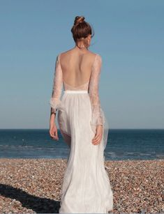 We searched the depths of Etsy for the most beautiful & versatile two piece wedding dresses & bridal separates you can buy. A backless romantic lace long sleeve two piece wedding dress.