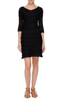 Black Princess Three Quarter Sleeve Dress by Vanessa Montoro for Preorder on Moda Operandi