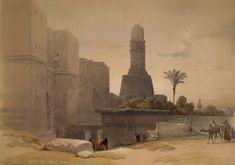 Egypt, Cairo. Watercolor David Roberts 19th century (Bab al-Nasr and minaret Hakim)