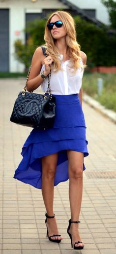 blue drop hem skirt chanel handbags, chanel bags, fashion, mullet, skirts, style, blue, colors, outfit