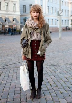 """I like second hand, brown, army green and outfits with feminine elements.    Sweden, indie bands like The Kooks, sea and sailing inspire me."""
