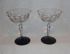 Vintage Black Glass Base Optic Champagne Glasses (2) 1950s/art deco?