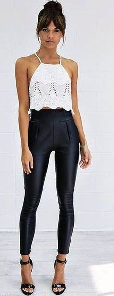 #summer #australian #fashionista #outfits | White Top + Black Pants