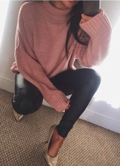 baggy sweaters + leather leggings
