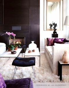 Living room decor interior design ideas / Campion Platt - via http://housebeautiful.com love the pops of purple!