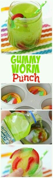 Gummy Worm Punch - Kids will love sipping on this drink in the summer! Great idea for birthday parties, St. Patrick's Day and Halloween, too! Gummy worms are frozen in a punch mixture and emerge from (Halloween Bake For Kids) Halloween Desserts, Hallowen Food, Halloween Food For Party, Halloween Birthday, Birthday Parties, Halloween Drinks Kids, Halloween Dinner, Birthday Party Food For Kids, Birthday Ideas