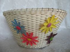 Bicycle baskets! Schwinn bicycle basket with leather straps and by theshabbyKat, $35.00